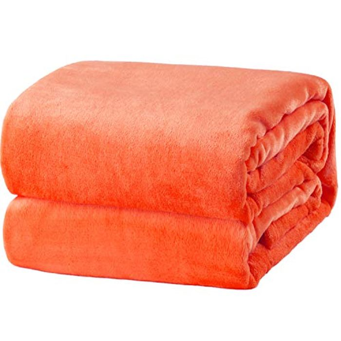 Save 60%- Bedsure Flannel Blankets Bedspread King Size Orange