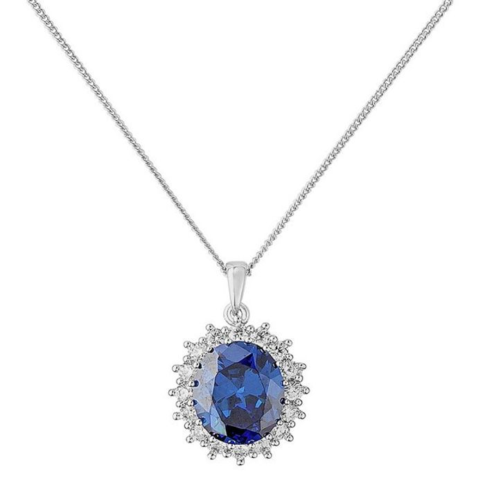 Revere Silver Dark Blue Oval Halo Pendant 18 Inch Necklace