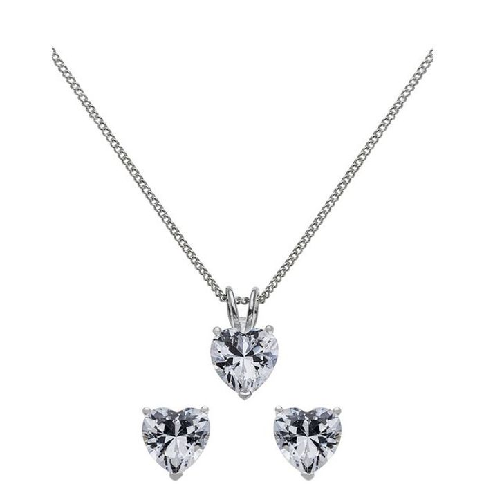 Revere Silver Cubic Zirconia Heart Pendant and Earring Set