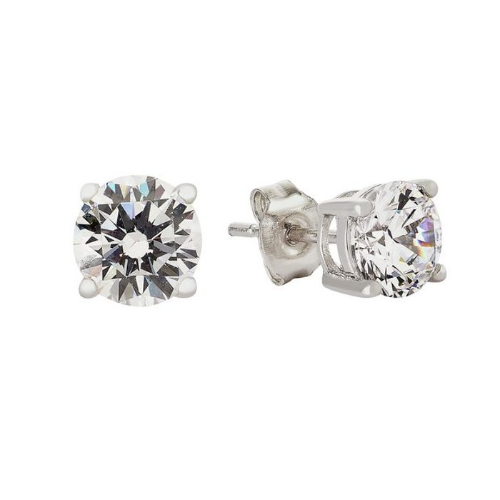Revere Sterling Silver round Cubic Zirconia Stud Earrings