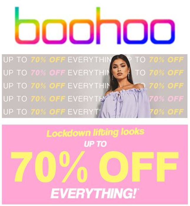 BOOHOO - up to 70% off EVERYTHING!