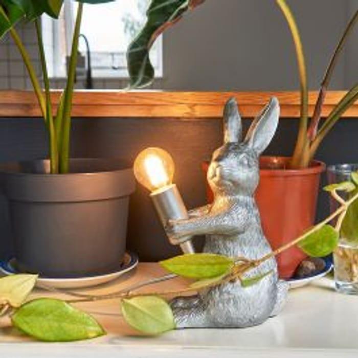 Warren Rabbit Table Lamp in Silver