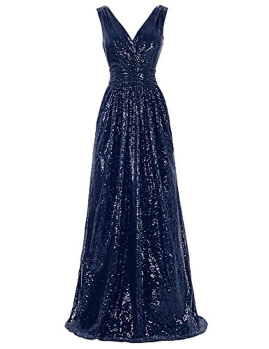 Women 20s Elegant Sequins v Neck Sleeveless Evening Party Maxi Dress