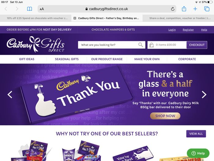 10% off £25 Spend on Chocolate with Voucher Code from Cadbury Gifts