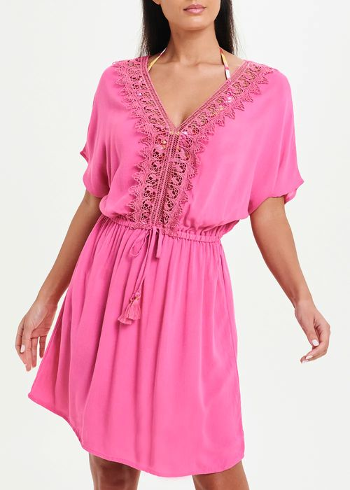 Lace Trim Kaftan - Pink
