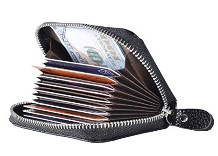 Genuine Leather Card Wallet with RFID Blocking