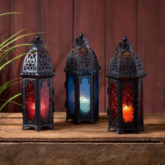 3 Coloured Glass Moroccan Lanterns