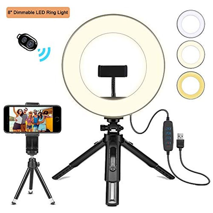 "8"" LED Ring Light with Tripod Stand"
