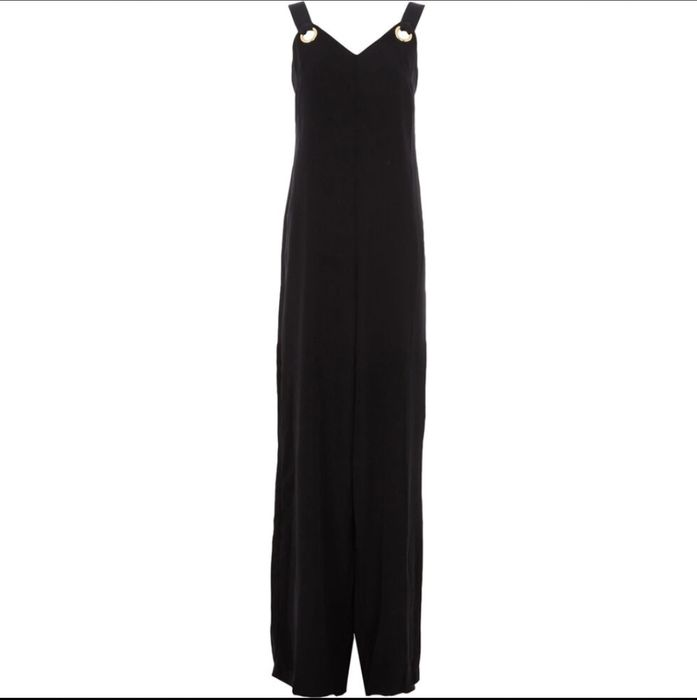 GUESS Black Ribbed Strap Jumpsuit