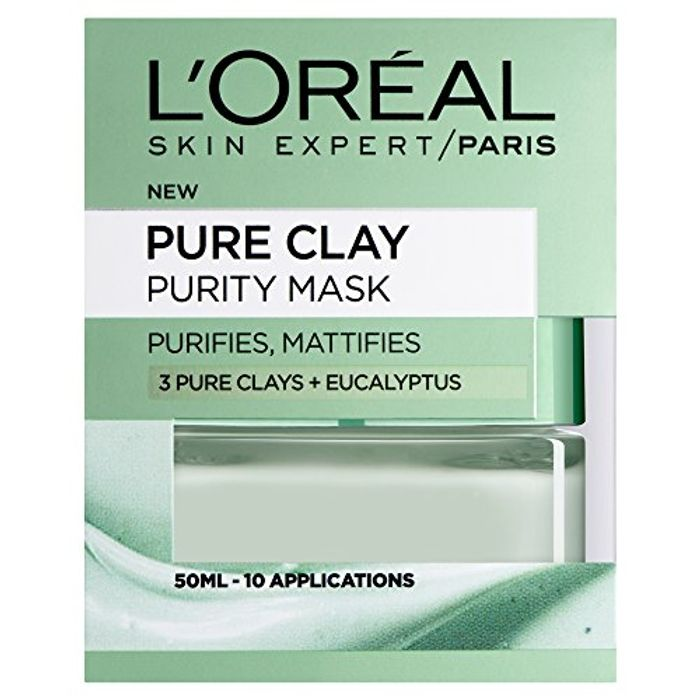 HALF PRICE! L'Oreal Paris 3 Pure Clays and Eucalyptus Purity Mask, 50 Ml