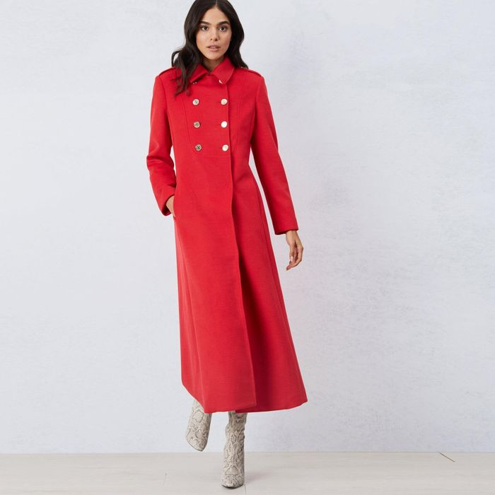 James Lakeland - Red Long Double Breasted Coat ( Size 16 )