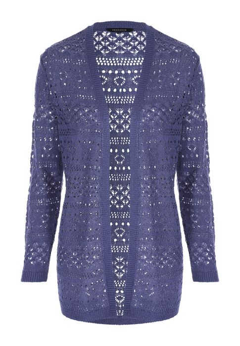 Womens Blue Pointelle Longline Cardigan