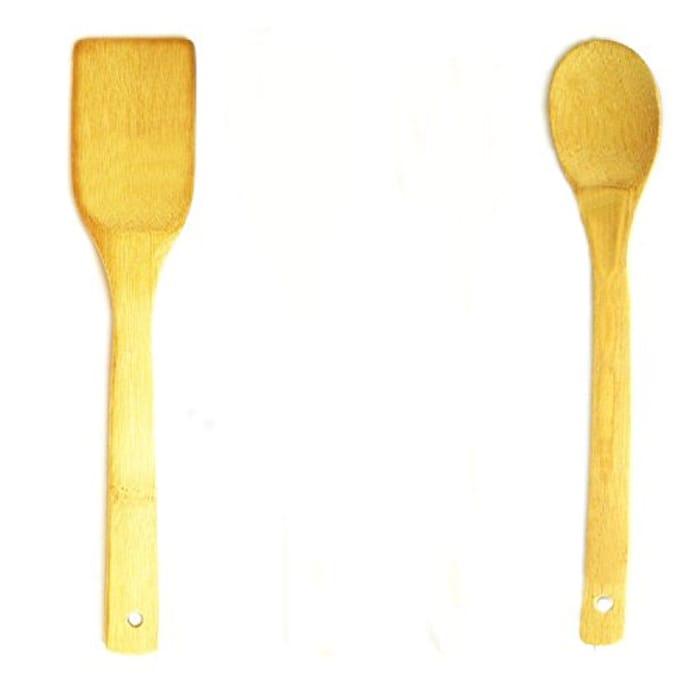 2 Pcs Set Wooden Spoon Spatula