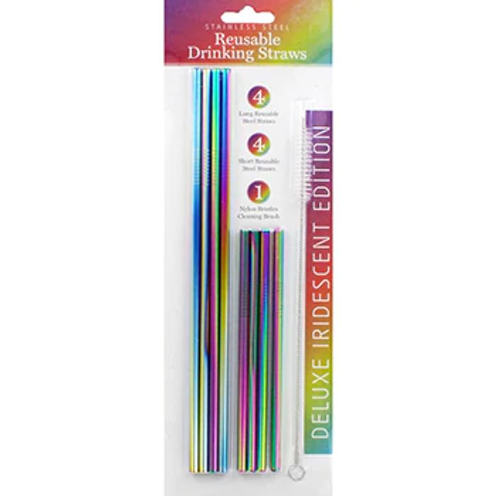 Stainless Steel Reusable Drinking Straws - 8 Pack