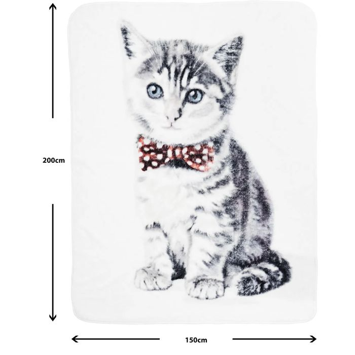 Cat Print Throw 150x200cm - save £4