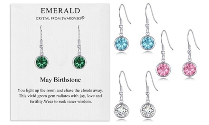 Philip Jones Birthstone Drop Earrings Made with Crystals from Swarovski