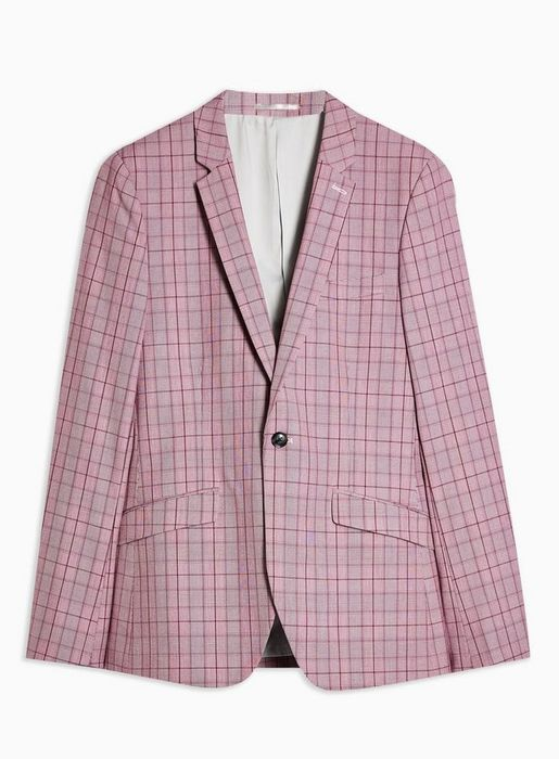 Best Price! Pink Check Skinny Fit Single Breasted Blazer with Notch Lapels