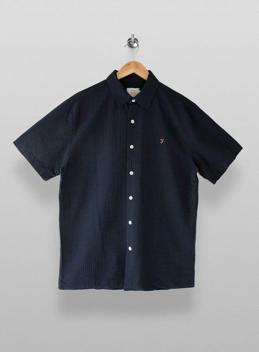 FARAH Navy Seersucker Short Sleeve Shirt*