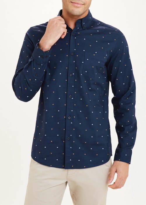 Long Sleeve Chevron Print Oxford Shirt