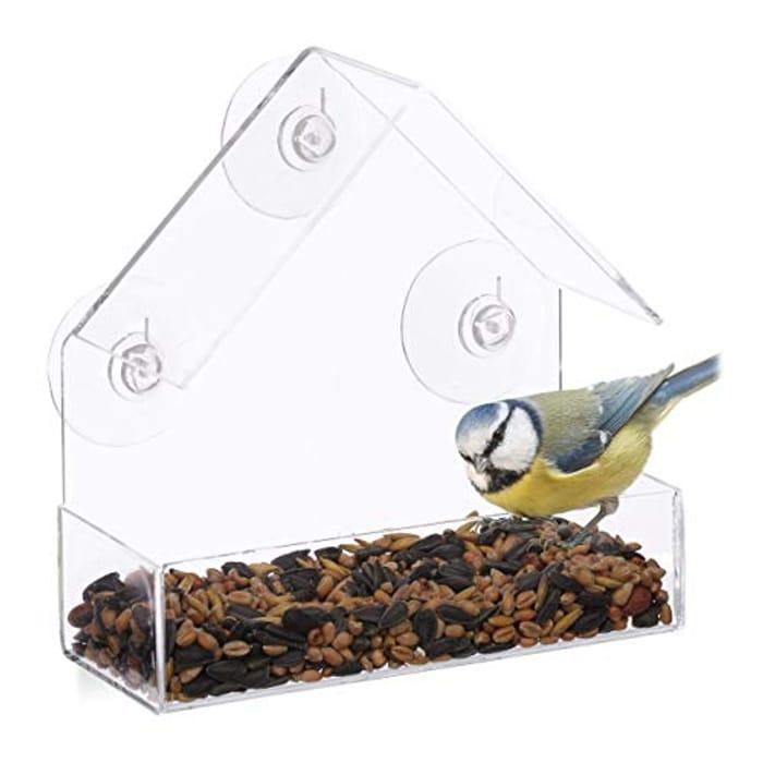 Relaxdays Window Birdhouse, Wild Bird Feeder, 3 Suction Cups
