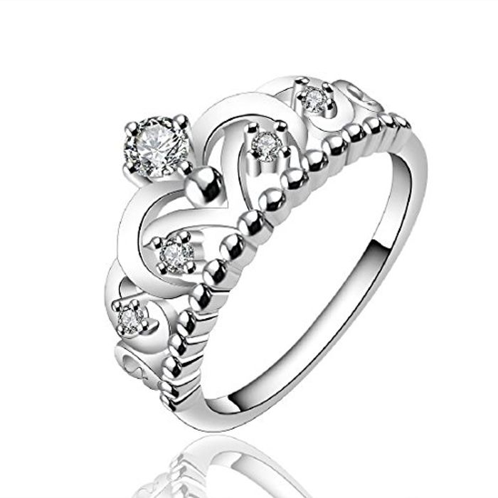 925 Sterling Silver Jewelry Imperial Crown Elegant Party Ring Size 7