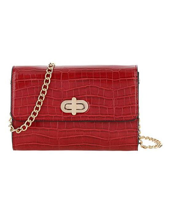 Cheap Red Croc Foldover Turnlock Clutch Bag Only £7.7