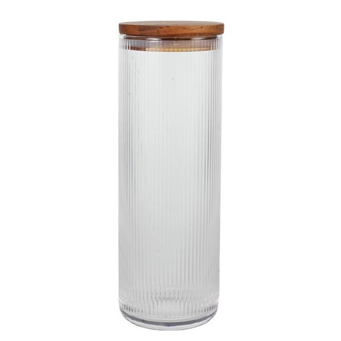 Glass Ribbed Pasta Canister