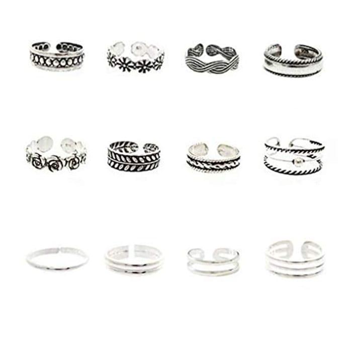 12PCS Vintage Toe Rings Set for Women