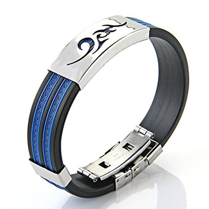 Stainless Steel Cloud Black Blue Silicone Bangle Cuff Bracelet Wristband Men