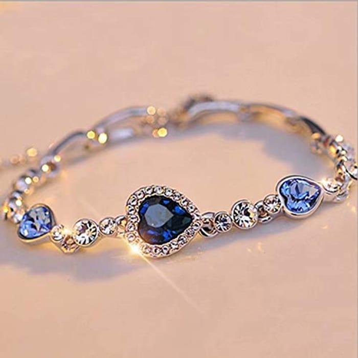 Ladies Silver Lovely Crystal Heart Shape Pendant Bracelet