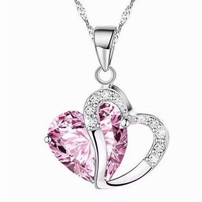 New Fashion Amethyst Pink Heart Crystal Pendant Necklace