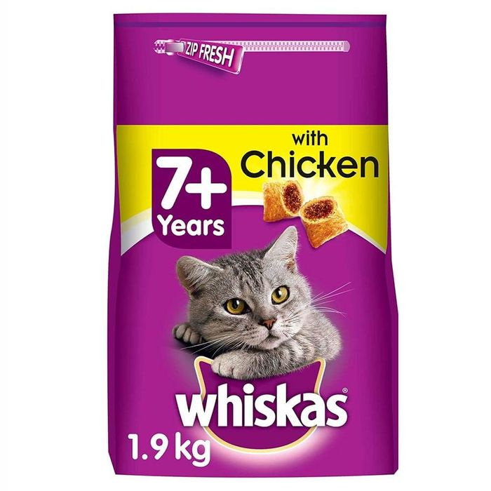 Whiskas Senior Cat Food with Chicken Filled Pockets (4 X 1.9kg Bags) HALF PRICE