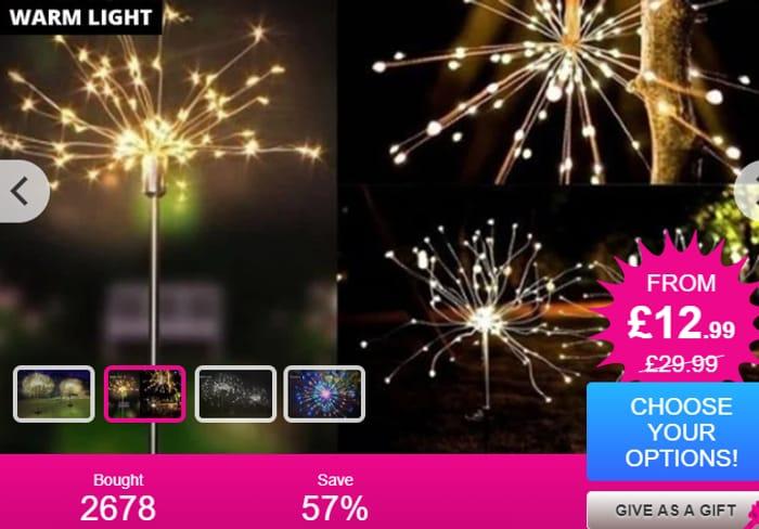 90, 120 or 150-LED Solar Firework Light - 3 Colours!