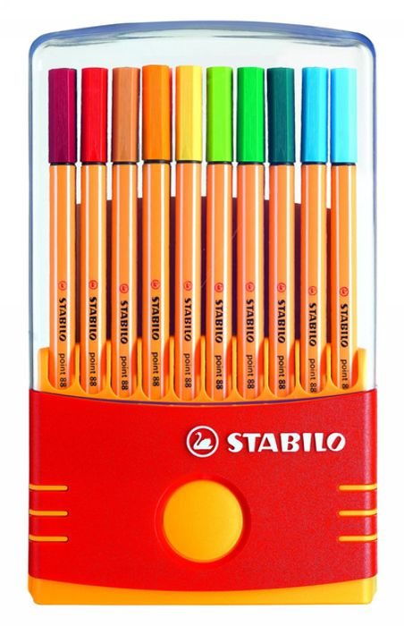 STABILO Point 88 Fineliners, 0.4 Mm Nib, Assorted Ink