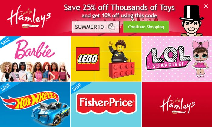 Hamleys - 25% Off Over 1000 Toys + Extra 10% Off Code - £7.43 R/C Cars!