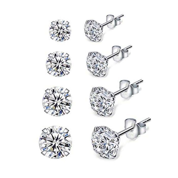 Silver Stud Earrings for Women, 4 Pairs