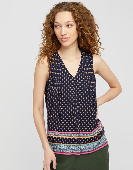 Ashleigh Border Print Sleeveless Top with Linen and Organic Cotton