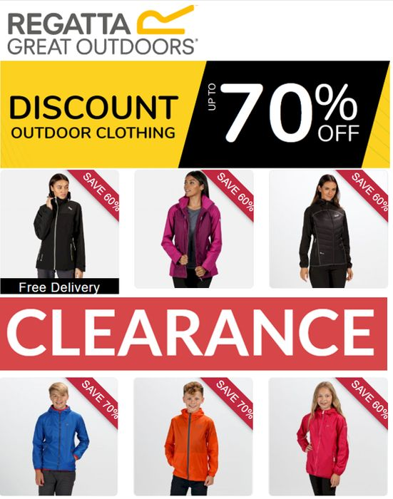 Special Offer - REGATTA CLEARANCE - up to 70% off Jackets, Fleece, Trousers