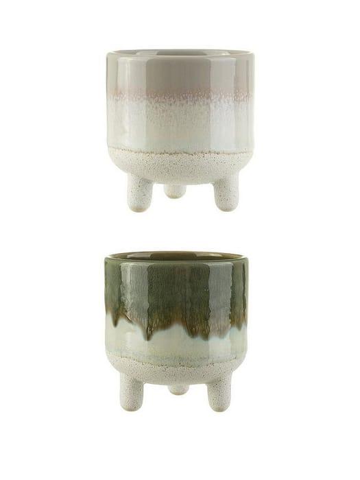 Set of 2 Mini Reflective Glazed Planters