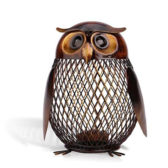 Tooarts Money Box Owl Shaped Piggy Bank Metal Coin Bank