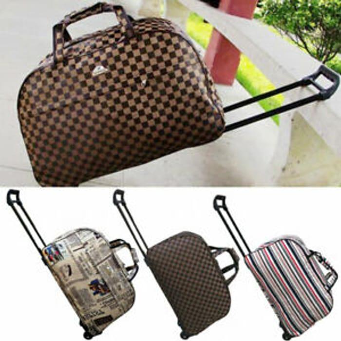 "Ladies 20"" Hand Luggage with Wheels Weekend Travel Bag Holdall"