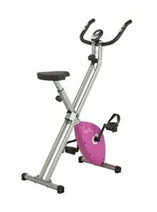Opti Folding Magnetic Resistance Adjustable Upright Exercise Bike - Pink