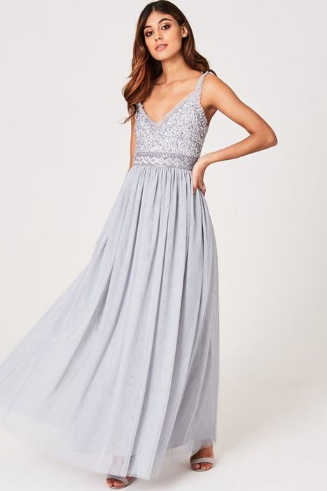 Serena Grey Sequin and Frill Maxi Dress