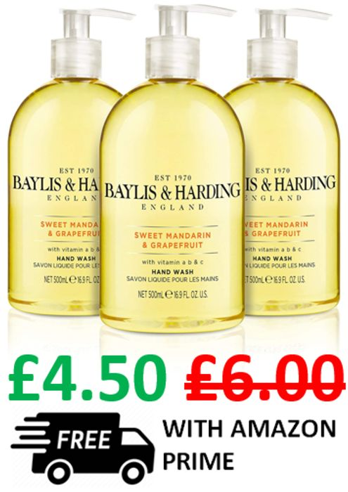 3 X Baylis & Harding Sweet Mandarin and Grapefruit Hand Wash (PRIME DELIVERY)