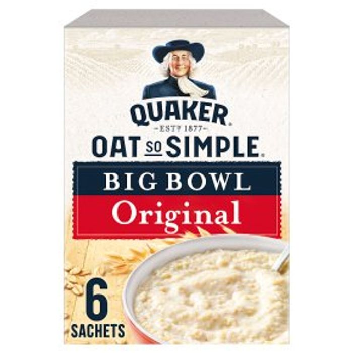Quaker Oat so Simple Big Bowl Original 6s 231g - ADD 2 for £3