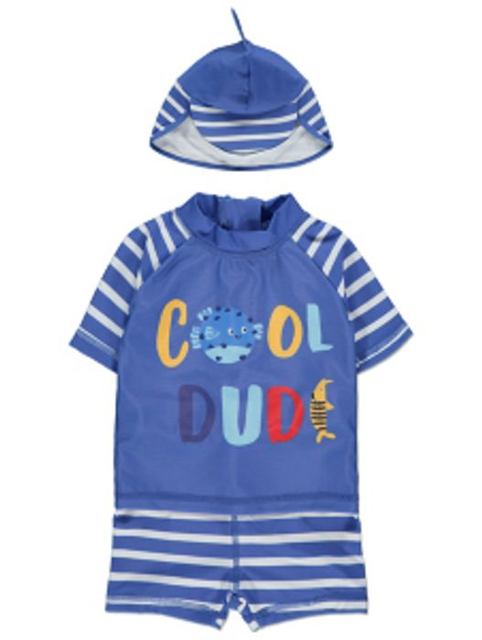 Blue Cool Dude Slogan Sun Protection Top Shorts and Keppi Hat Set