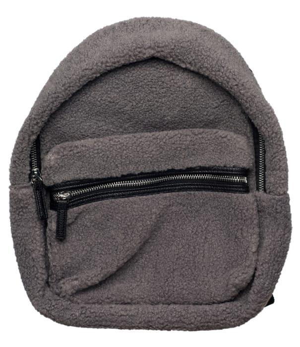 Grey Shearling Midi Backpack