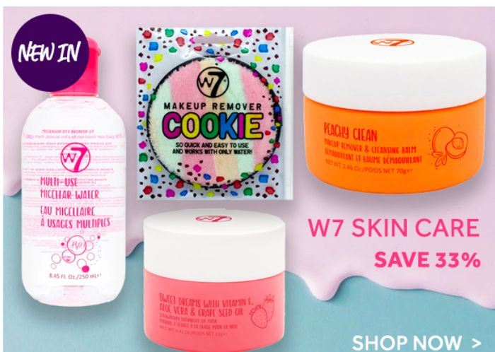 Save 33% On W7 Multi Use Micellar Water, Face & Lip Masks