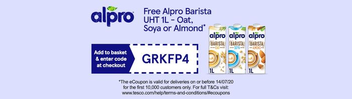 Free Alpro Barista Oat, Soya or Almond at Tesco Witch Code