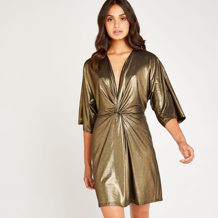 Gold Kimono Knot Front Dress